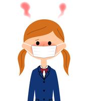 イラスト Female high school student who has a fever(5266346)