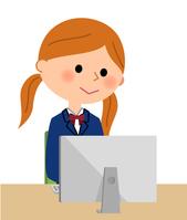 イラスト School girls who operate PC(5266560)