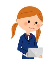 イラスト School girl who operates notebook PC(5266562)