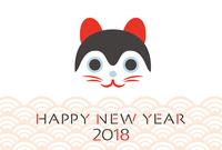 イラスト New Year's card template for 2018 tension puppy(5266594)