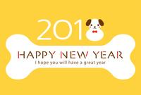 イラスト Dog's New Year's card template for 2018 year old year(5266617)