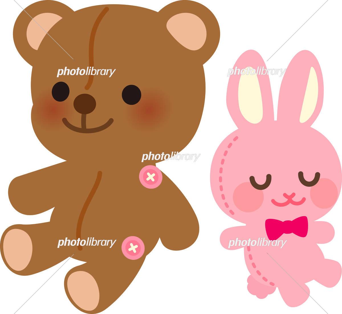 クマとウサギのぬいぐるみ イラスト素材 [ 5345388 ] - フォトライブ