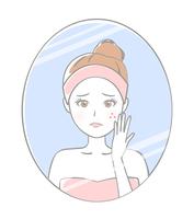 イラスト Women who care about pimples(5353138)