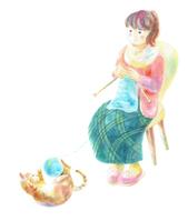 イラスト Knitting women and cats(5353338)