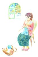 イラスト Knitting woman and cat(5353343)