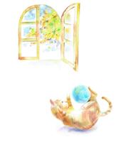 イラスト Cats window playing with wool balls(5353349)