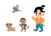 イラスト Momotaro monkey and pheasant and dog illustration(5354265)