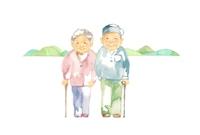 イラスト Distant view of grandparents and mountains(5355791)