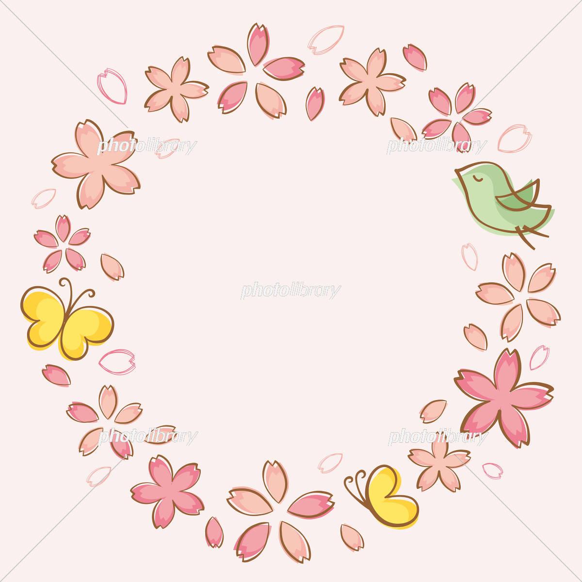 手書き風の桜のフレーム素材 イラスト素材 [ 5450626 ] - フォトライブ