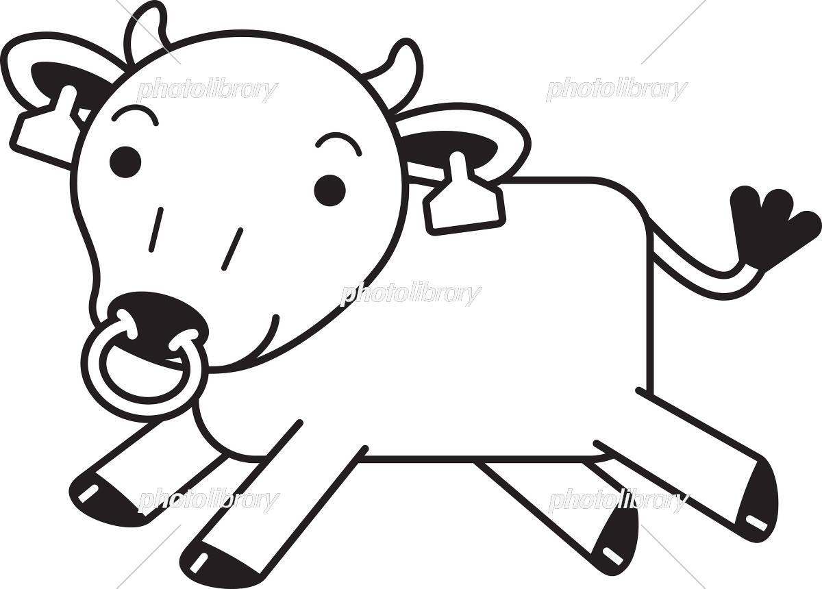牛 モノクロ 走る イラスト素材 [ 5476000 ] - フォトライブラリー
