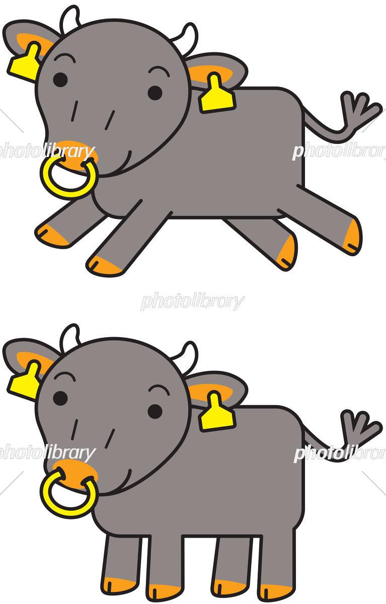 黒毛和牛 キャラクター セット イラスト素材 [ 5476192