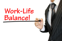 """Work life balance"" ワークライフバランスを強調 written by a young businessman ワークライフバランス"
