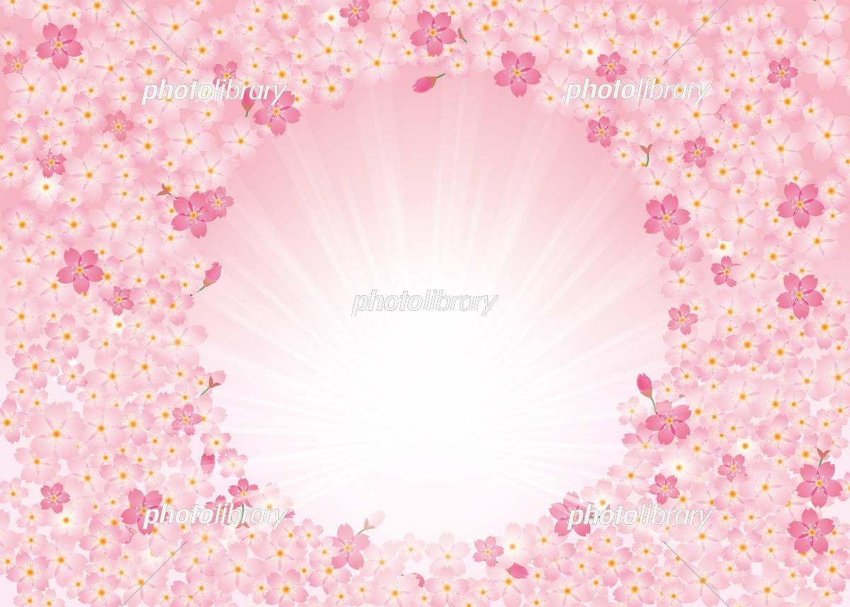 和と春のイメージの桜のイラストを使った背景イラスト(円型 ピンク