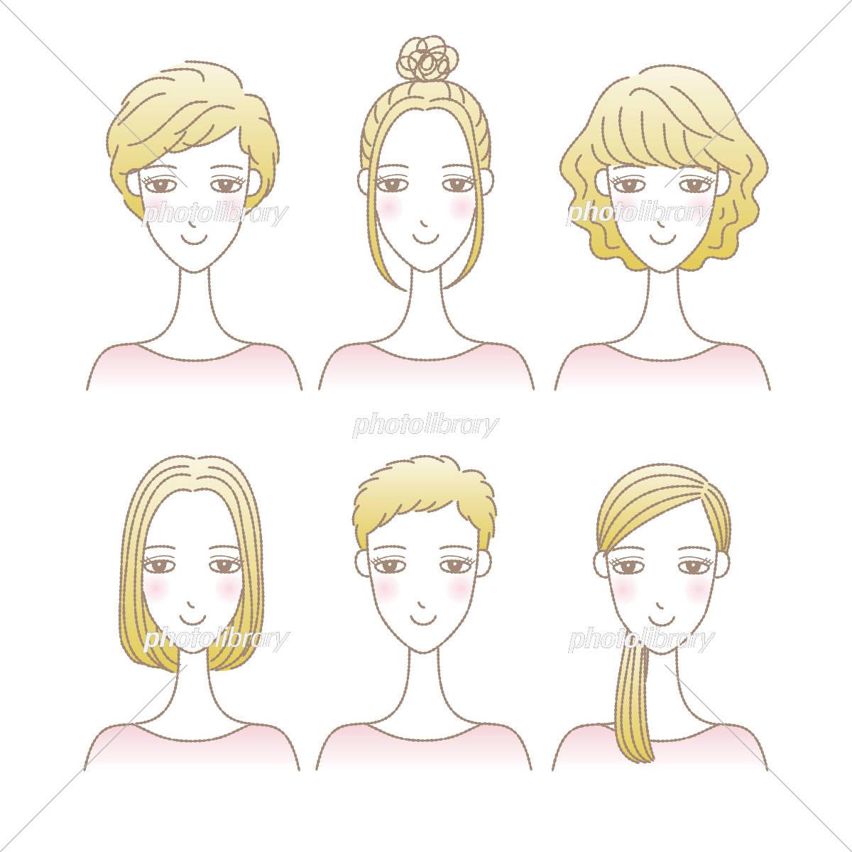 女性の髪型イラストセット ショートヘア ミディアムヘア