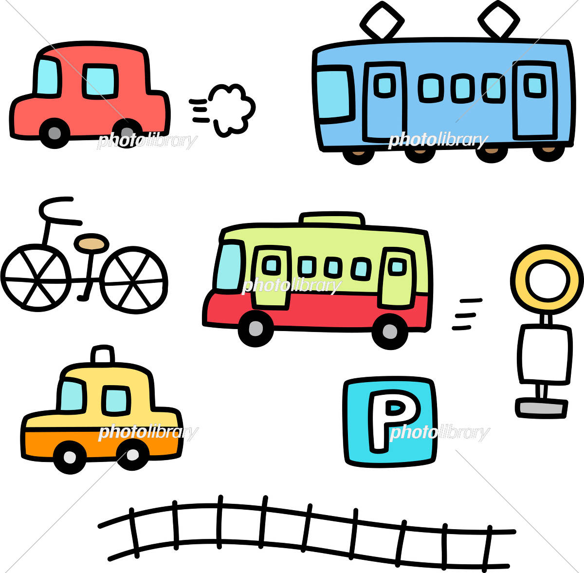 車と電車の手書きイラストセット イラスト素材 [ 5516952 ] - フォト