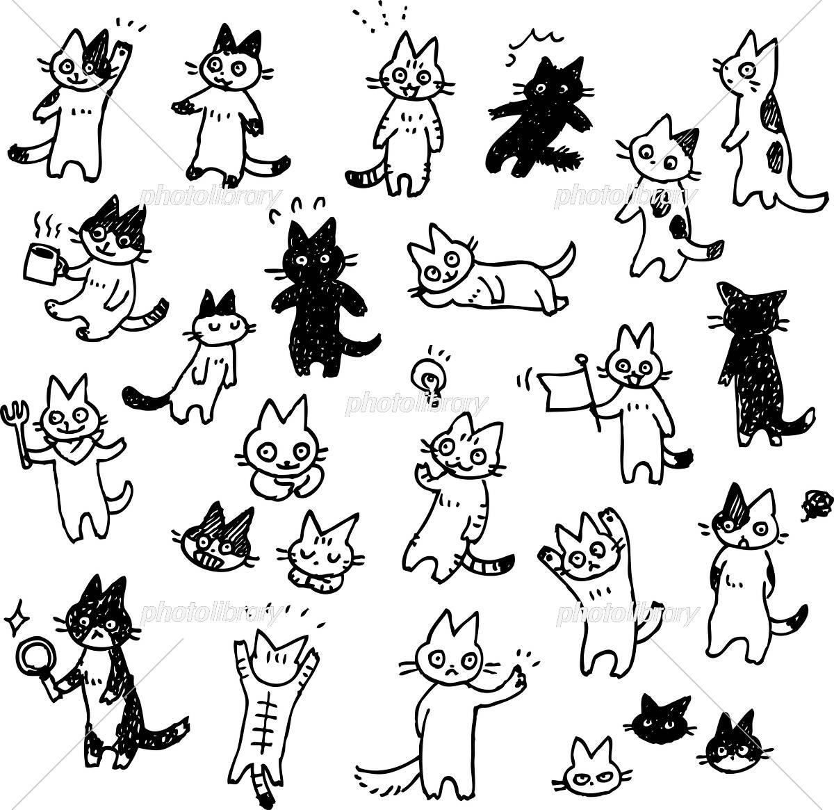 猫の手書きイラストセット モノクロ イラスト素材 [ 5544888 ] - フォト