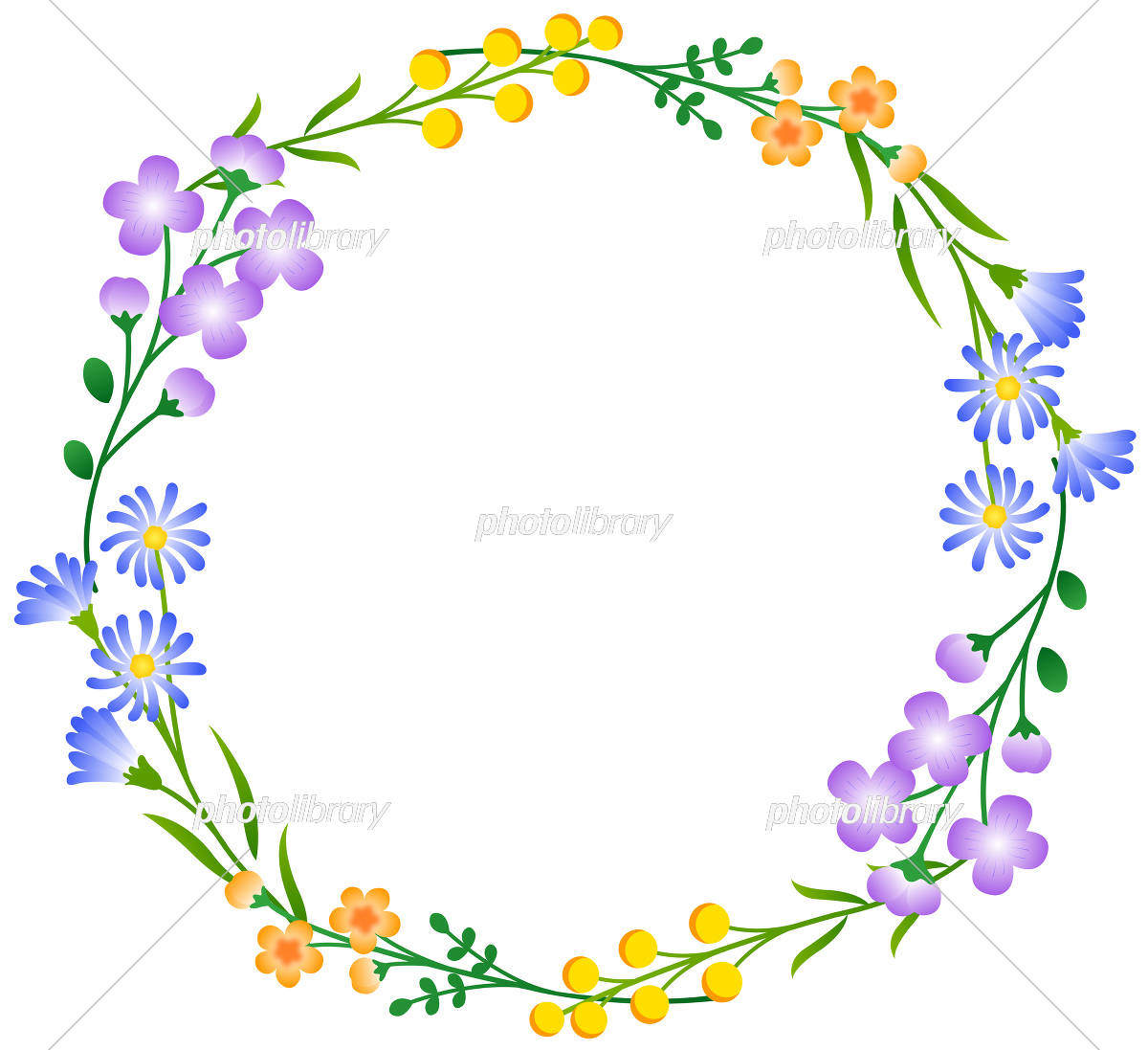 花のフレーム 丸 イラスト素材 [ 5545327 ] - フォトライブラリー