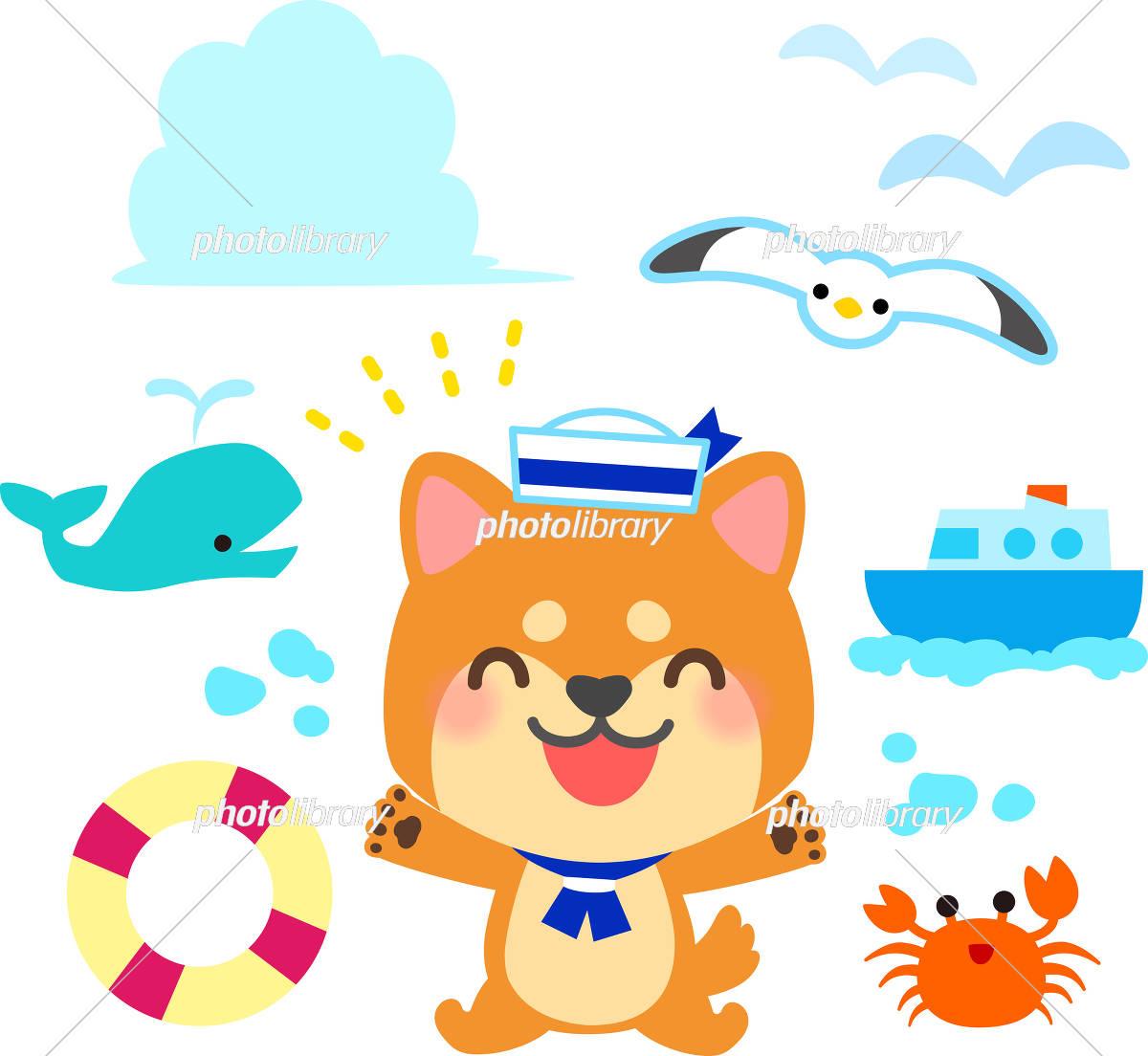 夏の海のイラストセット 柴犬 イラスト素材 [ 5548580 ] - フォトライブ