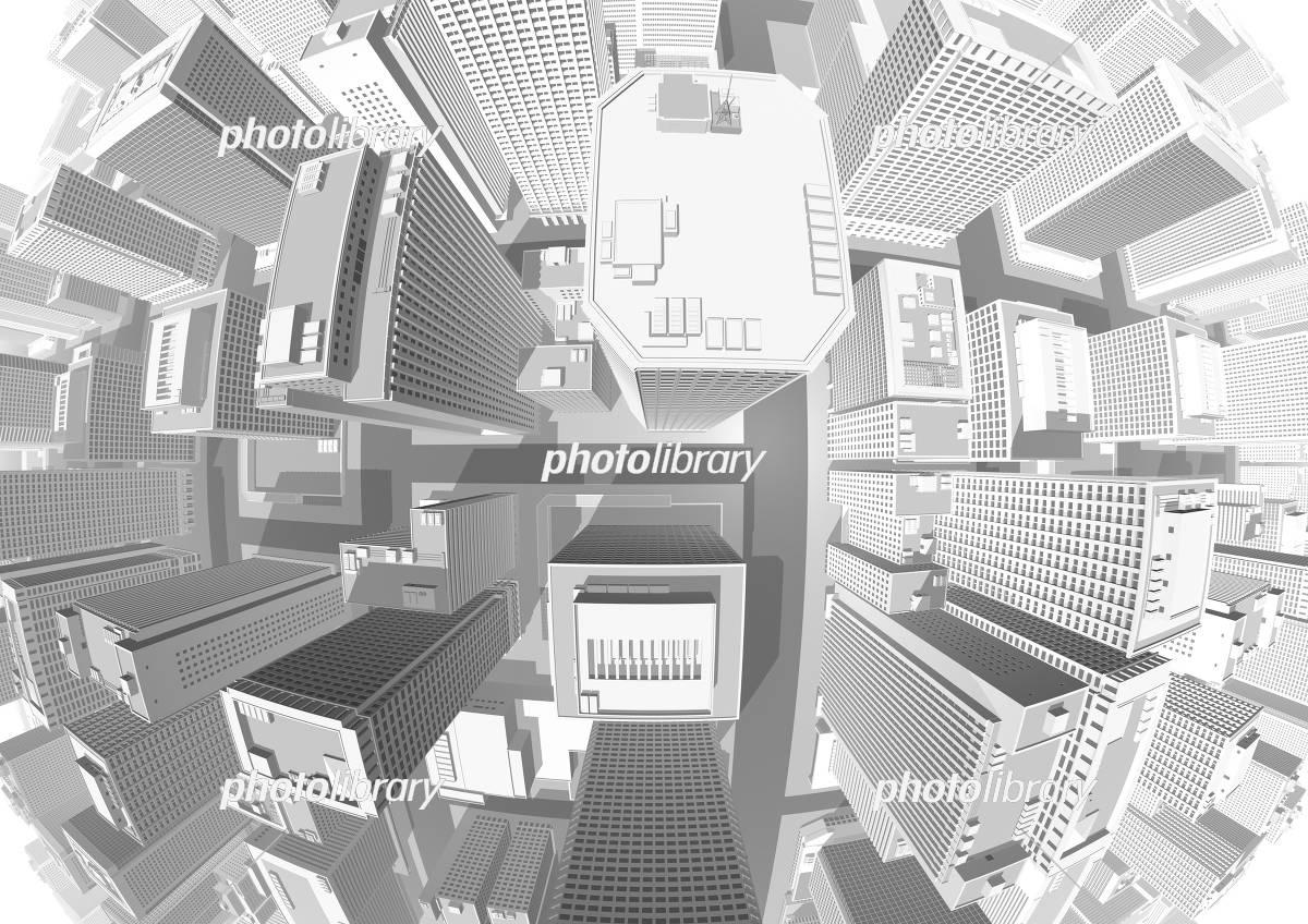 ビル群 都市 真俯瞰 魚眼レンズ グレー イラスト素材 [ 5551189