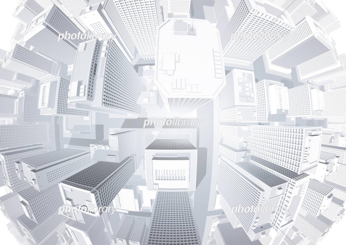 ビル群 都市 真俯瞰 魚眼レンズ 白 イラスト素材 [ 5551194