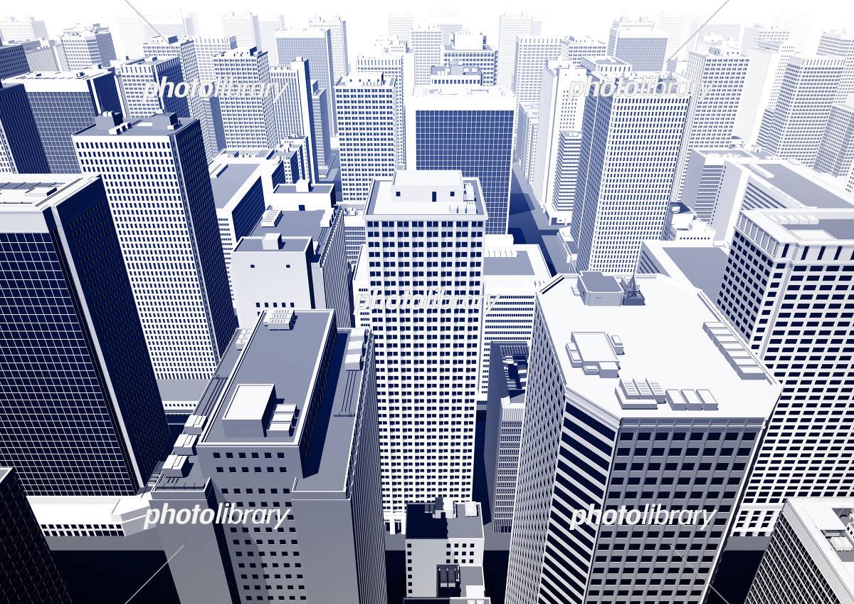 ビル群 都市 俯瞰 パース 青コントラスト イラスト素材 5551197