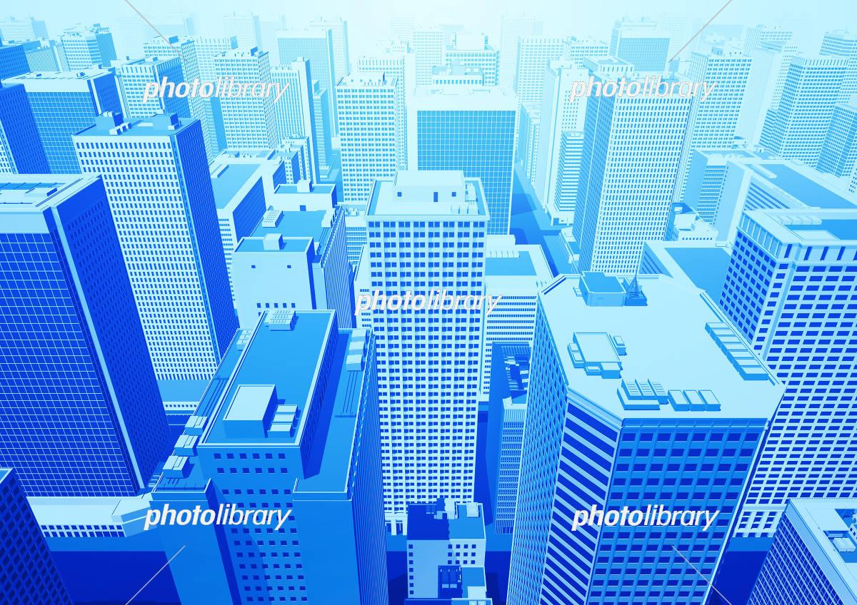 ビル群 都市 俯瞰 パース 青 イラスト素材 5551199 フォトライブ