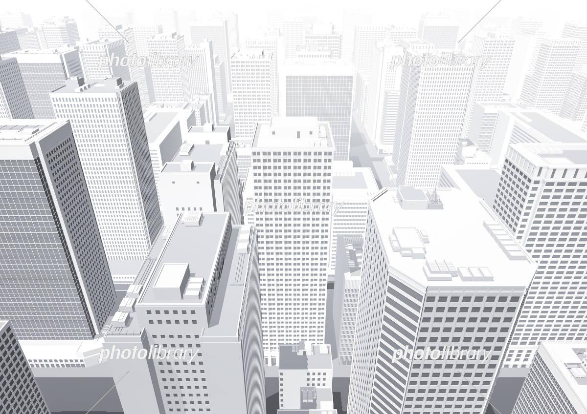 ビル群 都市 俯瞰 パース 白 イラスト素材 5551209 フォトライブ
