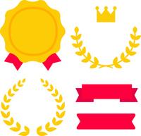 イラスト Emblem and laurel icon(5544885)