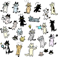 イラスト Cats handwritten illustration set(5544891)