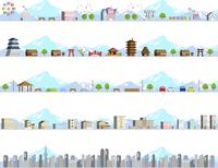 イラスト Cityscape Snowy Mountain Background Set(5545801)