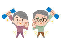イラスト Energetic senior playing dumbbell exercises(5547283)