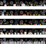 イラスト Cityscape fireworks background set(5547754)