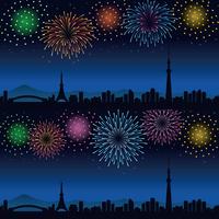 イラスト Fireworks of the night and the cityscape of Tokyo Summer image(5547895)