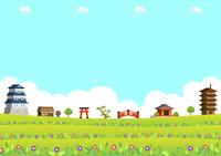 イラスト Three-dimensional Castle Town Flower Field(5548146)