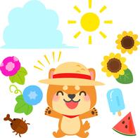 イラスト Shiba Inu wearing a Straw Hat and Summer Illustration Set(5548583)