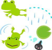 Cute frog and tadpoles  Illust