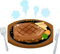 イラスト Teppanyaki steaks and knives, forks(5548590)