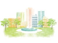 イラスト Townscape fresh green illustration(5549027)