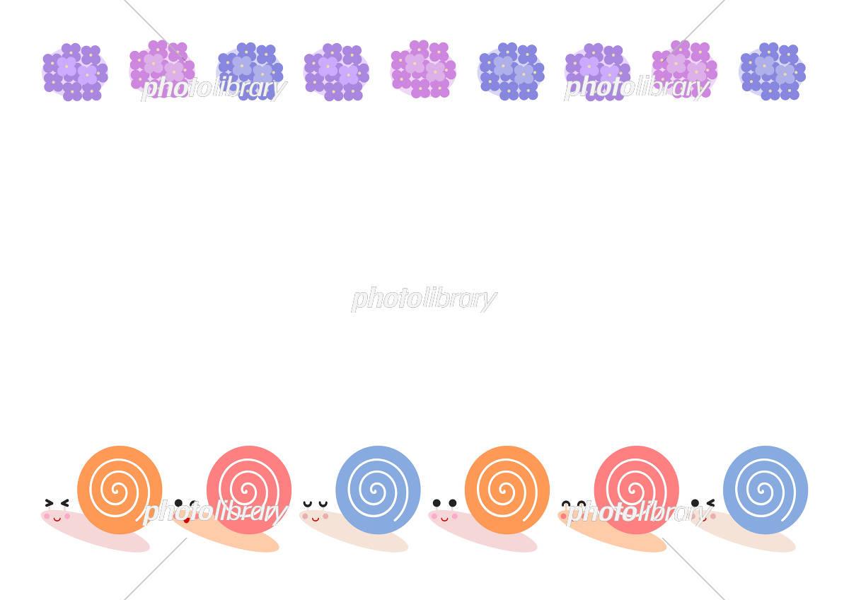 カタツムリとあじさい イラスト 背景 フレーム イラスト素材 フォトライブラリー Photolibrary