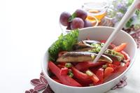写真 Saut���ed eggplant and paprika vegetables(5588378)