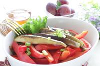 写真 Saut���ed eggplant and paprika vegetables(5588381)