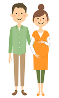 Young couple pregnant women  Illust