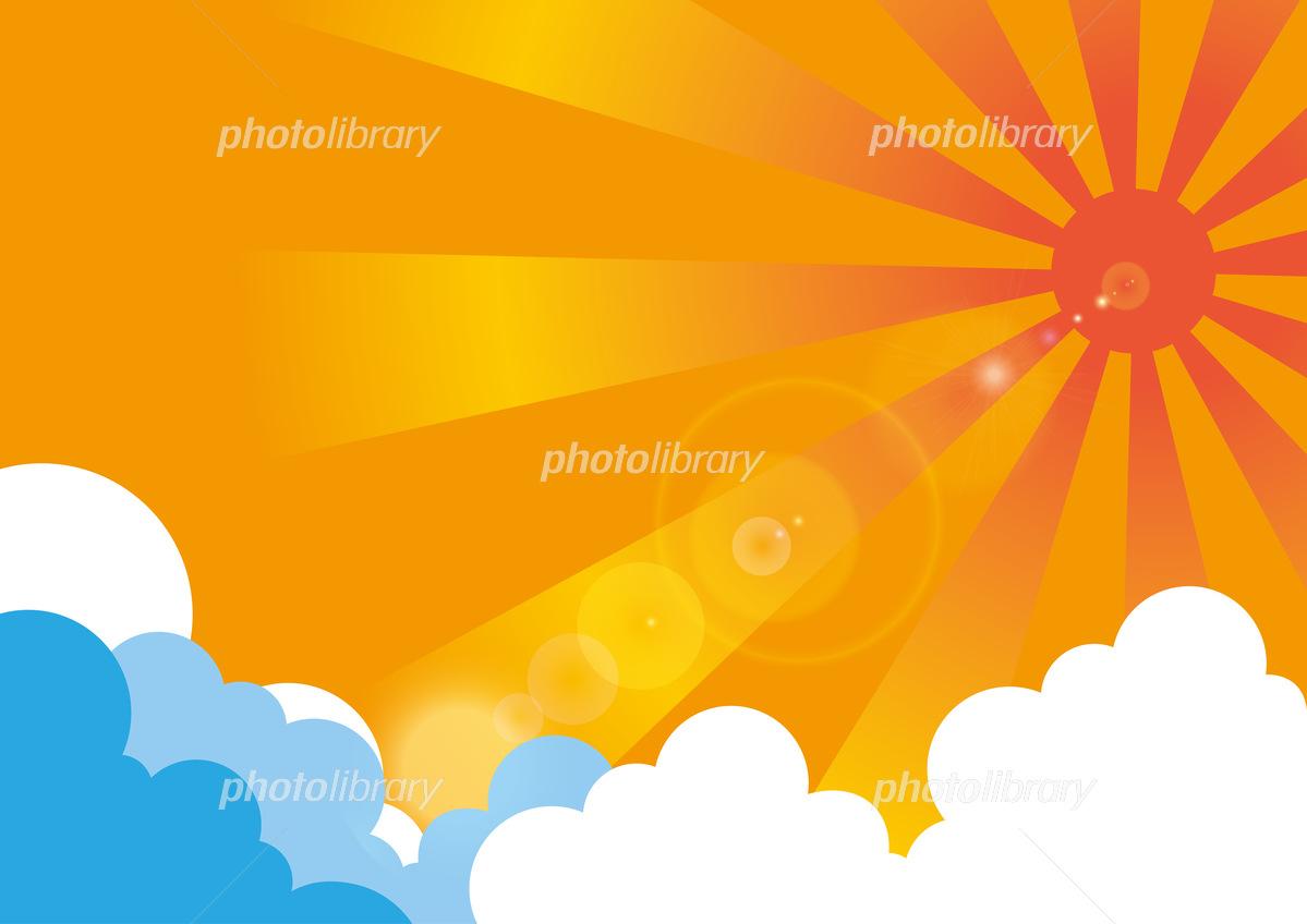 真夏の太陽と入道雲 イラスト素材 [ 5622886 ] - フォトライブラリー