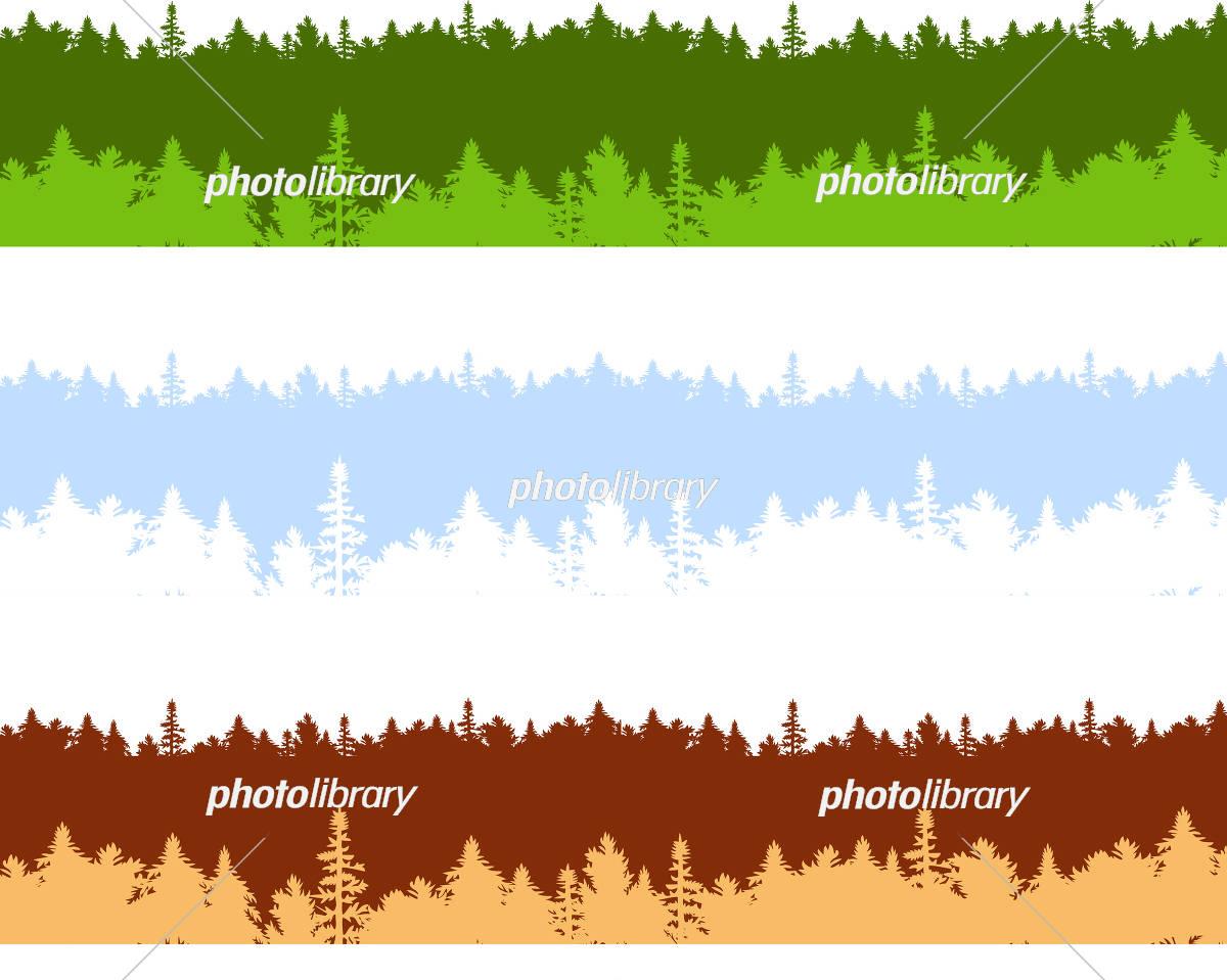 森 背景 四季セット イラスト素材 [ 5656873 ] - フォトライブラリー