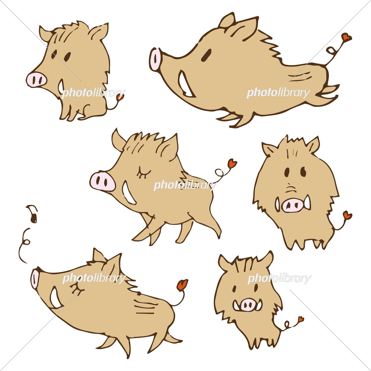 手書き 可愛い猪のイラスト 年賀状素材 干支動物 イラスト素材 [ 5658858
