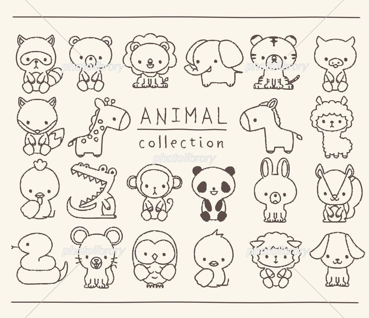 動物のセット 線画 手描き風 イラスト素材 [ 5722187 ] - フォトライブ