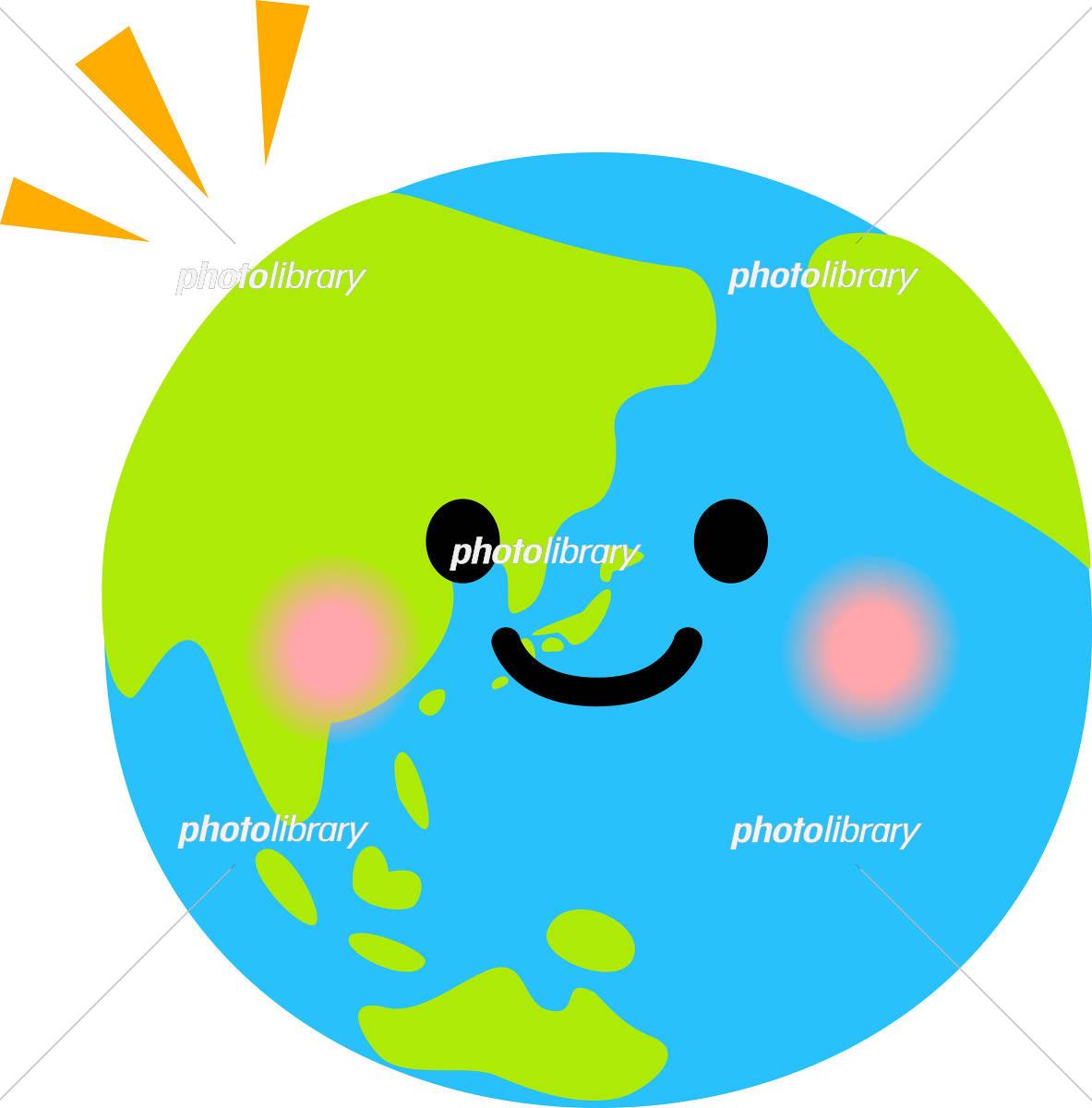 笑顔が付いた地球のデフォルメイラスト イラスト素材 5726601