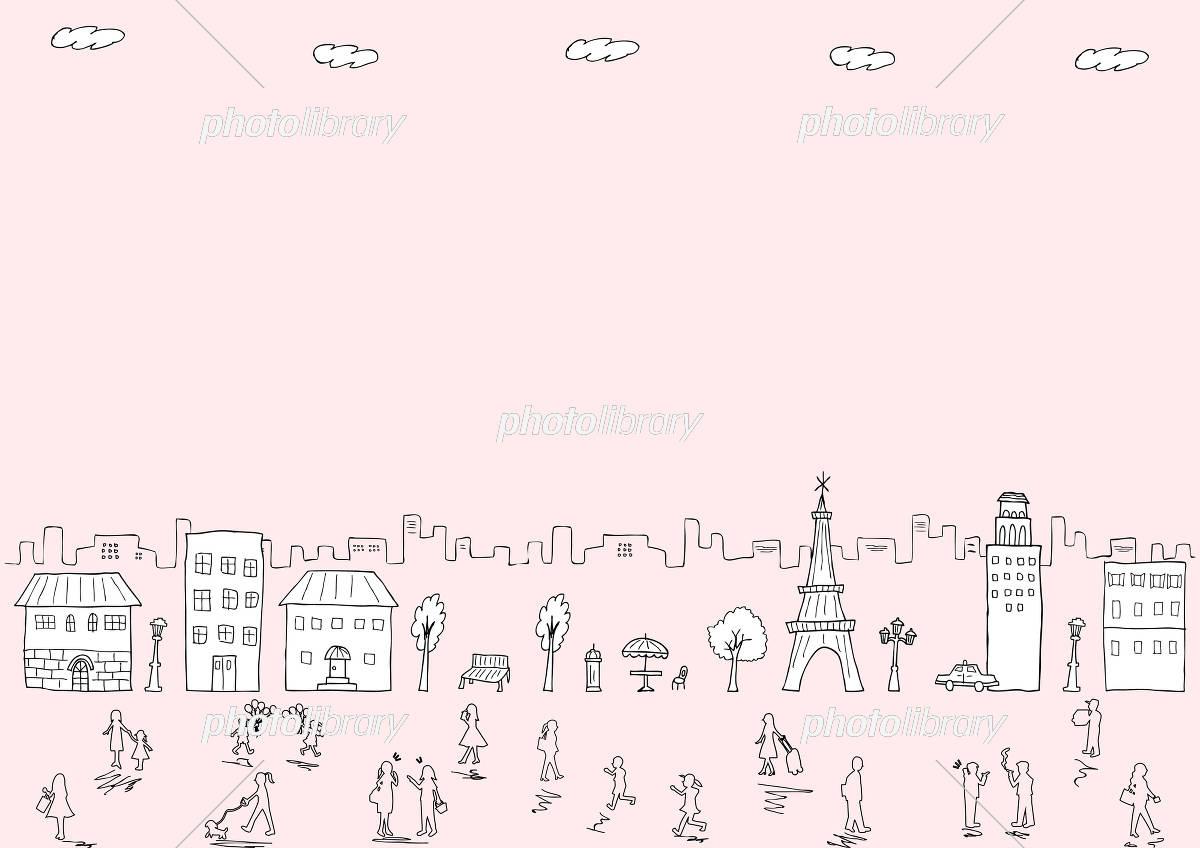 手描き 街並み 人 イラスト素材 5726948 フォトライブラリー