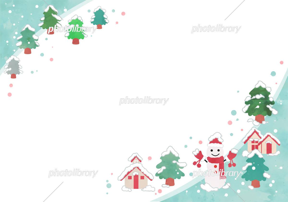 冬フレーム 雪だるまとモミの木 イラスト素材 フォトライブラリー Photolibrary