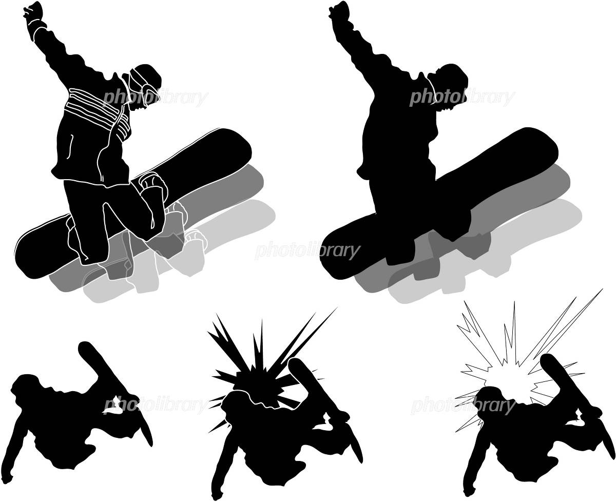 Illustration Silhouette Snowboard イラスト素材